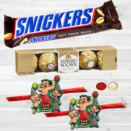 Trendy Kids Rakhis with Tasty Chocolates Pack, Free Card N Roli Tika