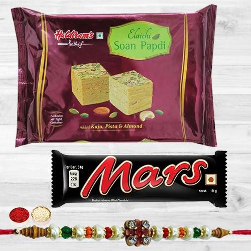 Stylish Stone Rakhi with Tasty Mars Chocolate N Soan Papdi