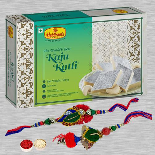 Impressive Lumba Rakhi Set N Kaju Katli with Free Roli Chawal N Card