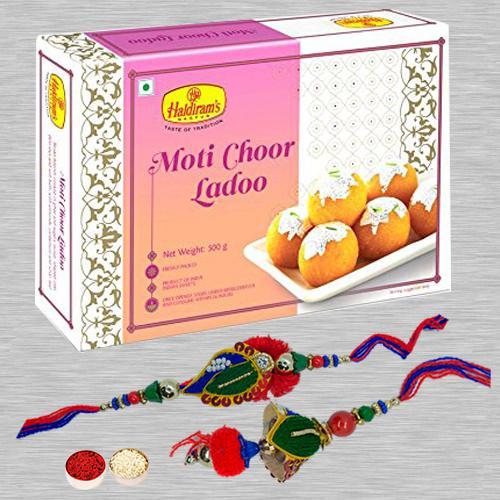 Soothing Lumba Rakhi Set N Motichoor Laddoo with Free Roli Tika N Card