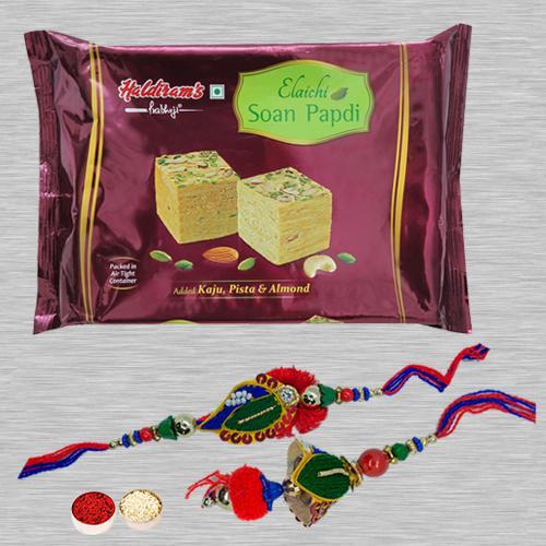 Fantastic Bhaiya Bhabhi Rakhi N Soan Papdi with Rakhi Card N Roli Tika