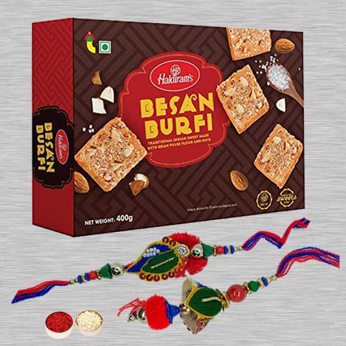 Lovely Lumba Rakhi Set N Besan Barfi Pack with Free Card N Roli Tika