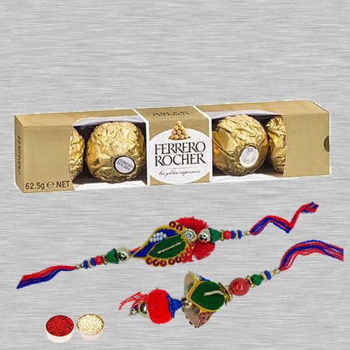 Classic Lumba Rakhi Set N Ferrero Chocolates with Roli Tika N Card