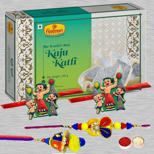 Showy Family Rakhi Set N Kaju Katli Pack, Free Card N Roli Tika