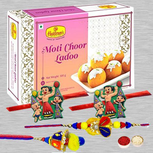 Trendy Family Rakhi Set N Motichoor Laddoo with Rakhi Card N Roli Tika