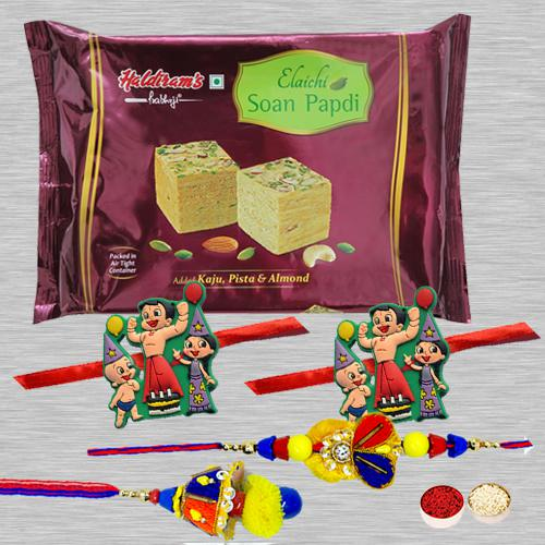 Fabulous Family Rakhi Set with Yummy Soan Papdi, Roli Tika N Card