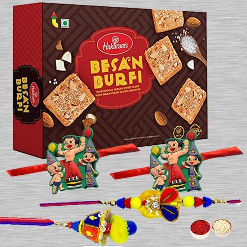 Family Rakhi Set N Besan Barfi Pack, Free Card N Roli Tika