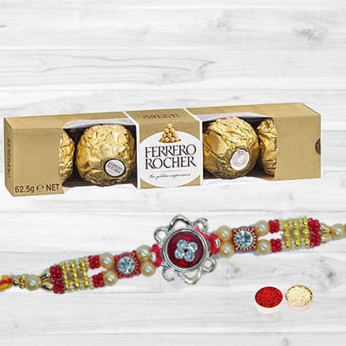 Gorgeous Stone Rakhi N Ferrero Rocher with Free Roli Tika N Card