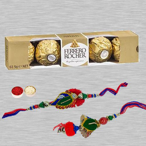 Magnificent Lumba Rakhi Set N Ferrero Rocher, Free Roli Tika N Card