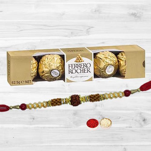 Astonishing Rudraksha Rakhi with Ferrero Rocher, Free Roli Tika N Card
