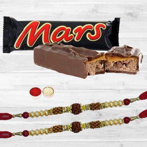 Lovely Rudraksha Rakhi Pair, Mars Chocolate, Free Roli Tika N Card