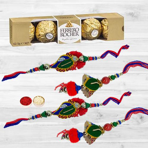 Dashing Set of 2 Lumba Rakhi N Ferrero Rocher with Roli Chawal N Card
