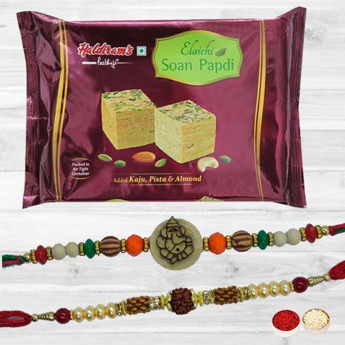 Gorgeous Rakhi Set N Tasty Soan Papdi with Free Roli Tika N Card
