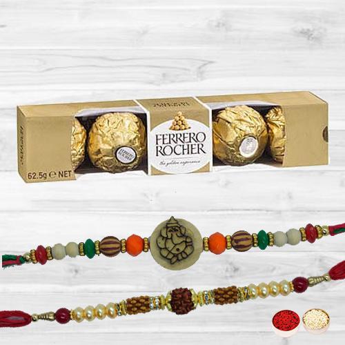 Flattering Rakhi Set N Ferrero Rocher with Free Card N Roli Tika