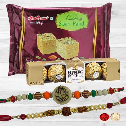 Auspicious Rakhi Set with Delicious Mitahi N Chcolate Pack