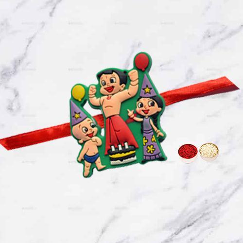 Trendy Single Kids Rakhi with Rakhi Wishes Card N Roli Tika