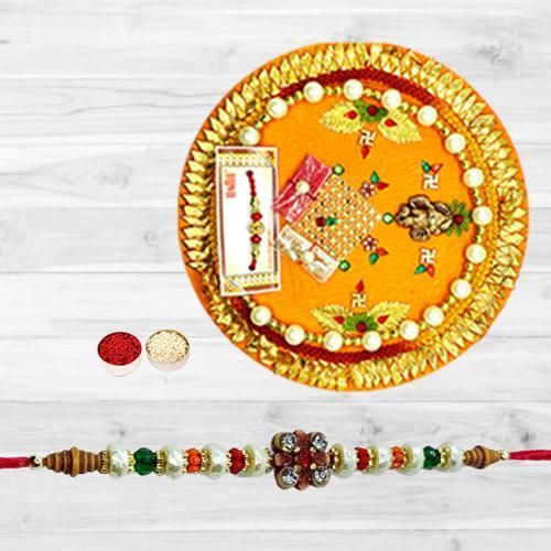 Ravishing Single Stone Rakhi N Thali with Free Roli Tika N Card