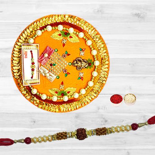 Lovely Combo of Single Rudraksha Rakhi N Thali, Free Roli Tika N Card