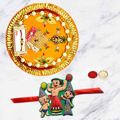 Ravishing Single Kids Rakhi N Thali Set with Free Card N Roli Chawal