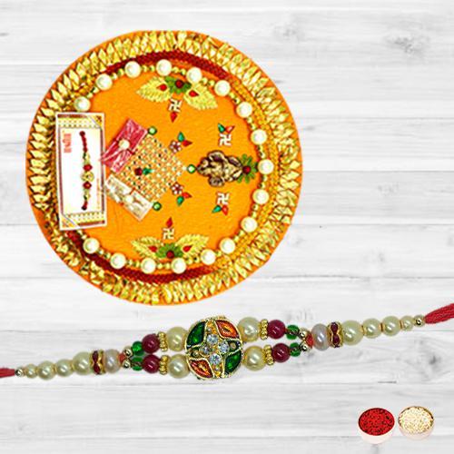 Pretty Single Stone Rakhi N Puja Thali Combo with Roli Tika N Card
