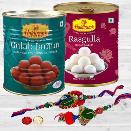 Remarkable Lumba Rakhi Set with Haldiram Sweets Delight