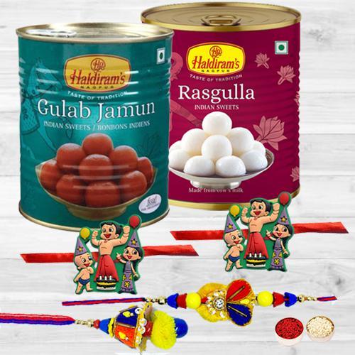 Pretty Family Rakhi Set with Luscious Haldiram Sweets Combo