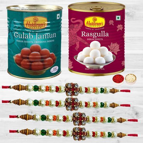 Magnificent Stone Rakhi Set of 4 with Haldiram Sweets Wonder