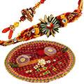 Decorative Thali with Bhaiya Bhabhi Pair