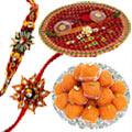 Graceful Set of Amazing Rakhi Thali with Rakhis & Boondi Ladoo