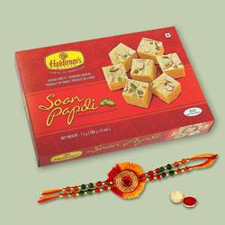 Relishing Combo of Ultimate Rakhi with Soan Papdi