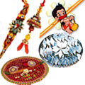 Luxuriate  Combo of Rakhi Thali with Family Set and Kaju Katli