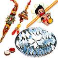 Adorn set of  Bhaiya, Bhabhi and kid Rakhi with Kaju Katli