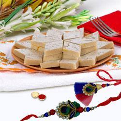 Furbish pack of Stylish Bhaiya, Bhabhi Rakhi with 250gm Kaju Katli