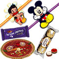 Dazzling set of Appealing Thali with Kids Rakhi with Chocolate bar and Ferrero Rochers