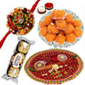 Splendid Designer Rakhi Thali with Rakhis, Ferrero Rocher & Booondi Ladoo
