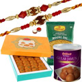 Perfect Combination of 2 Unique Rakhi Set With Motichoor Laddoo, Gulab Jamun and Moong Dal