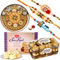 Amazing Combo of 2 Alluring Rakhi, 1 Kid Rakhi, Pooja Thali, Soan Papdi And Ferrero Rochers