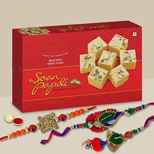 Decorous Combo of A Devine Rakhi, Rakhi & Loomba Set With Soan Papdi