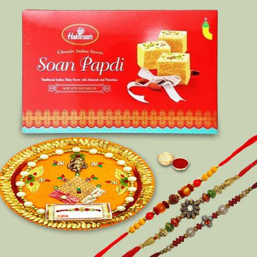 3 Winsome Rakhi Set With Traditional Pooja Thali And Soan Papdi
