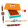 2 Elegant Rakhi set, Cartoon Kid Rakhi And Motichoor Laddoo