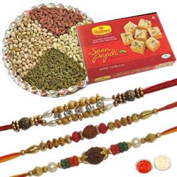 3 Ravishing Rakhi set, Soan Papdi, Dry Fruits
