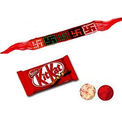 Angelic Treatment Combo of Swastik Rakhi  with Kitkat Chocolate