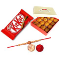 Ambrosial Superior Rakhi ,Kitkat Chocolate ,  with Moti Choor Laddo