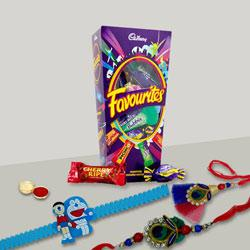 Pleasurable Bhaiya Bhabhi Rakhi with Doremon Kid Rakhi with Mix Cadbury Chocolates