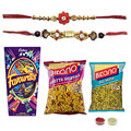 Heavenly Mix of Rudraksh Rakhi Set ,Dal Moth ,Khatta Mitha , Mix Cadbury Chocolate
