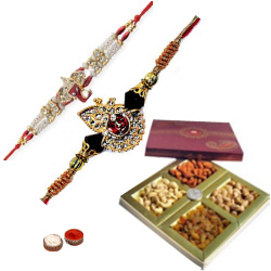 Classic 2 Divine Rakhi Set With Dry Fruits
