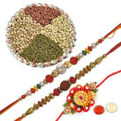 Charming Zardosi 3 Rakhi Set With Dry Fruits