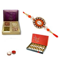 Arresting Bandhan Rakhi, Dry Fruits, Kaju Sweet, Set Of Roli Chaval (Tilak)