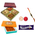 Lovelly Rakhi With Dairy Milk Chocolate , Motichoor Laddoo, Mix Dry Fruits, Set Of Roli Chaval (Tilak)