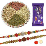 Godly Pavitra Rakhi Set With Kaju Katli, Dairy Milk Chocolate , Mix Dry Fruits, Set Of Roli Chaval (Tilak)